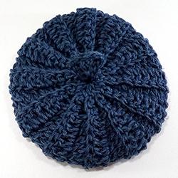 Tawashi en coton et lin bleu